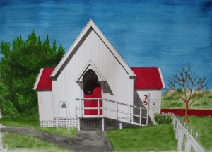 St Thomas Anglican Church, Maketu.Watercolour and pencil, 420 x 297mm.